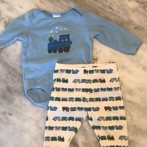 Gymboree 3-6mos marching train onesie and pants